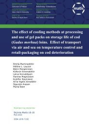 The effect of cooling methods at processing and use of gel ... - Matís