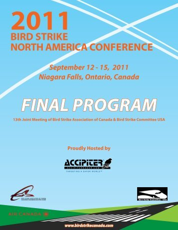 FINAL PROGRAM - Bird Strike North America Conference.