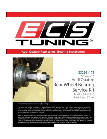 Rear Wheel Bearing Service Kit