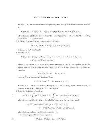 SOLUTIONS TO PROBLEM SET 2 1. Since Gt ⊂ Ft, it follows from ...