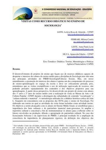 VISITAS COMO RECURSO DIDÁTICO NO ENSINO DE SOCIOLOGIA1