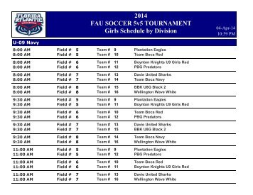 2013 FAU SOCCER 5v5 TOURNAMENT Girls Schedule by Division