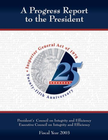 Report - Council of the Inspectors General on Integrity and Efficiency