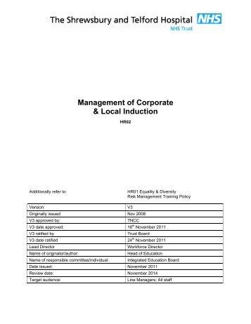 HR02 Corporate Induction & Statutory Training - Royal Shrewsbury ...