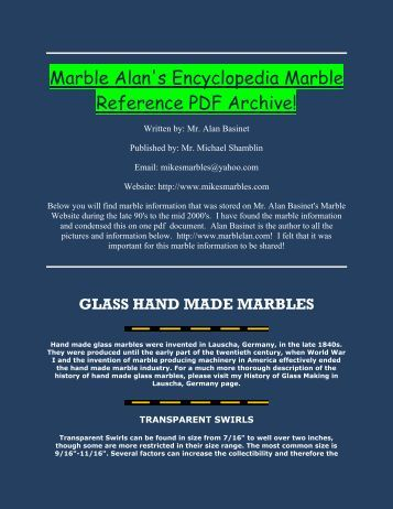Marble Alan's Encyclopedia Marble Reference PDF Archive!