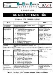 TAG DER OFFENEN TÜR 25. Jänner 2013, 10:00 bis 16:30 Uhr