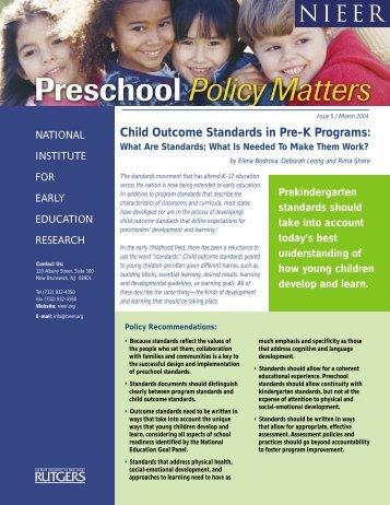 Child Outcome Standards in Pre-K Programs - National Institute for ...