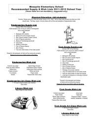Mesquite Elementary School Recommended Supply & Wish Lists ...