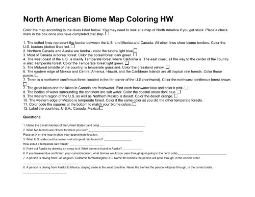 North American Biome Map Coloring HW - Cobb Learning