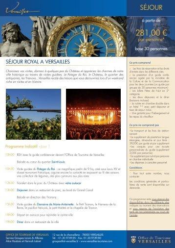 281,00 € - Office de tourisme de Versailles