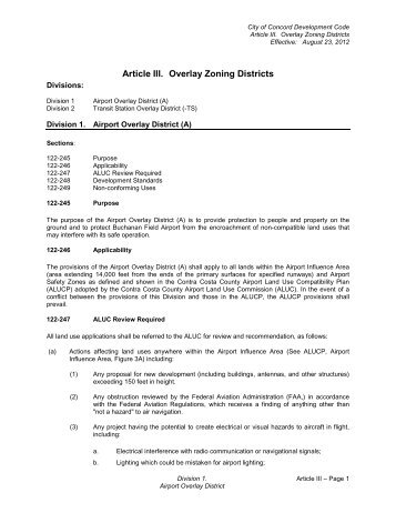Article III Overlay Zoning Districts - City of Concord