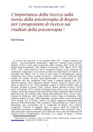 L'importanza della ricerca sulla teoria della psicoterapia di ... - ACP