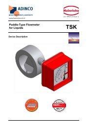 Paddle-Type Flowmeter for Liquids TSK - Adinco bv