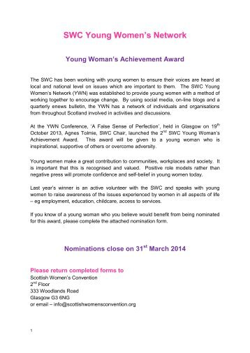 Young Woman's Achievement Award - Nomination Form(1)