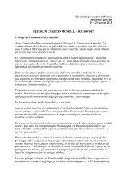 Le Forum chrétien mondial - Fédération Protestante de France