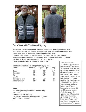 Cozy Vest with Traditional Styling - Authentic Knitting board