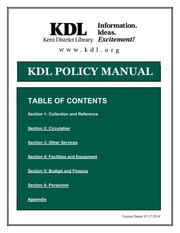 KDL POLICY MANUAL - Kent District Library