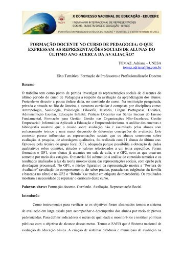 FORMAÇÃO DOCENTE NO CURSO DE PEDAGOGIA: O QUE ...