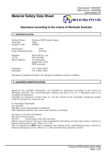 Signature Msds Exp Sep 2015 Pdf Perth Cleaning Supplies