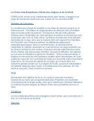 Le Centre interdisciplinaire d'étude des religions et de la ... - Doctorat