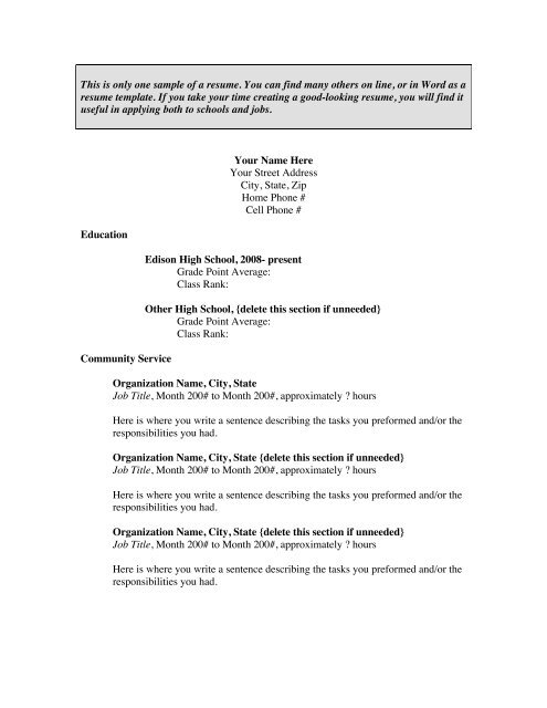 This Is Only One Sample Of A Resume You Can Find Many Others On