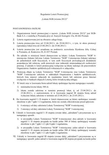 "Regulamin Loterii Promocyjnej ""Lokata SGB (wiosna 2012)"""