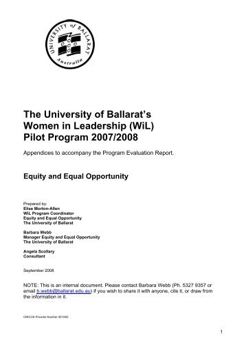 UB's Women in Leadership Pilot Program, 2007/2008 Evaluation ...