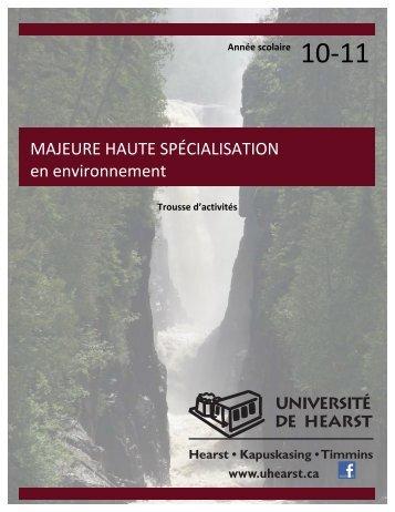 MAJEURE HAUTE SPÉCIALISATION en environnement