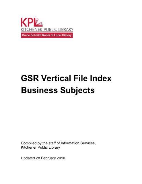 Gsr Vertical File Index Business Subjects Kitchener Public