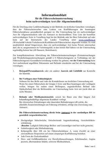 Informationsblatt Arztuntersuchung - Fahrschule Mayer