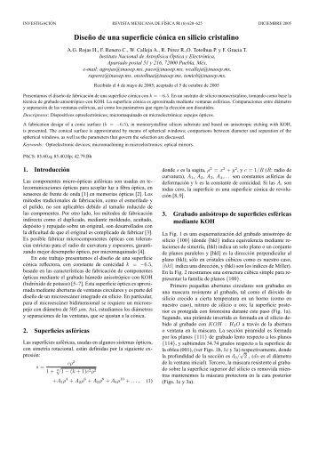 Diseño de una superficie cónica en silicio cristalino - E-journal