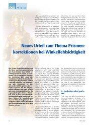 Neues Urteil zum Thema Prismenkorrektion bei ... - optic art eichinger