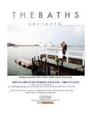 Mid Year Wedding Package 2013-2014 - The Baths Sorrento