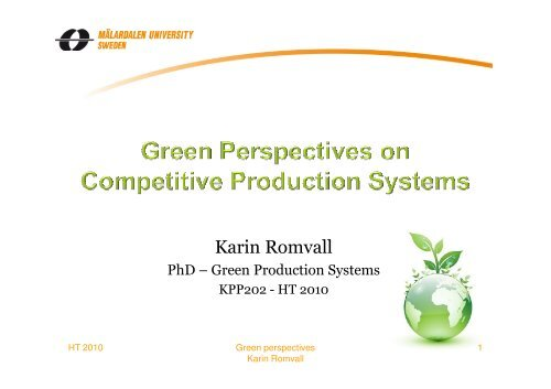 Green Perspectives on Production - Zoomin