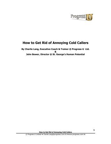 How to Get Rid of Annoying Cold Callers - Progress-U