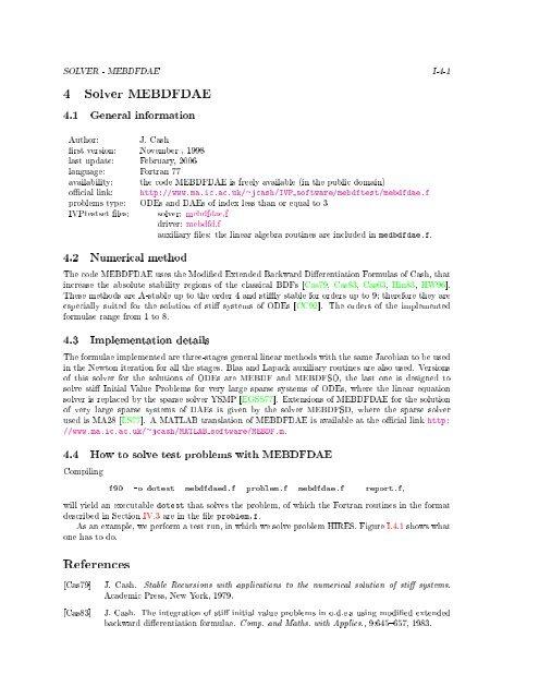 4 Solver MEBDFDAE References