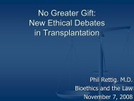 No Greater Gift: New Ethical Debates in Transplantation