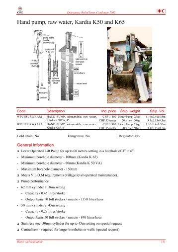 Hand pump, raw water, Kardia K50 and K65