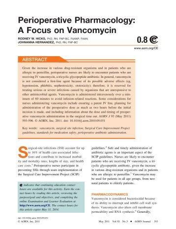 Perioperative Pharmacology: A Focus on Vancomycin - AORN