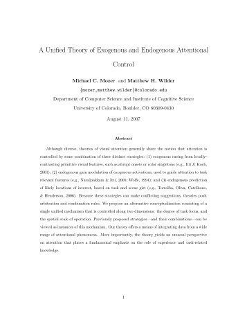 A Unified Theory of Exogenous and Endogenous Attentional Control