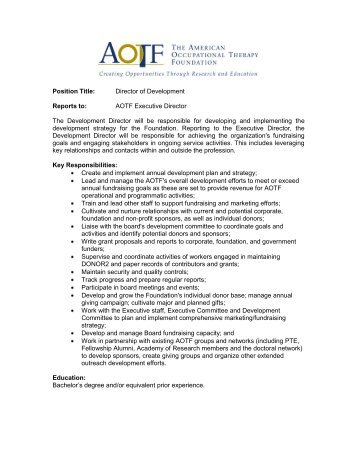 Job Description Director Of Student Development Tlr B