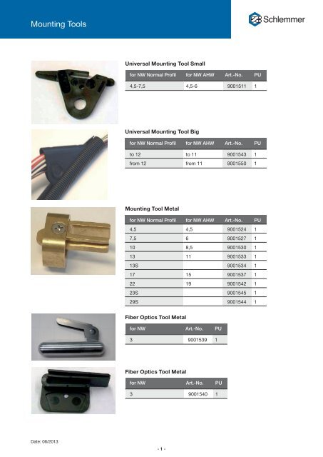 Mounting Tools - Schlemmer