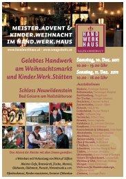 Samstag, 10. Dez. 2011 10.00 - Hand.Werk.Haus