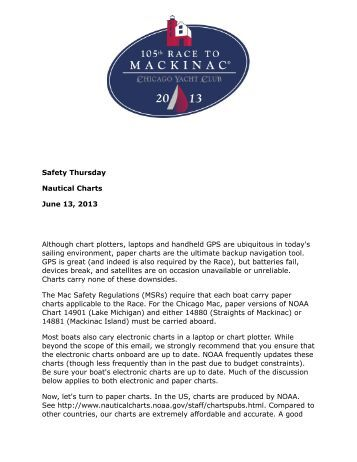 June 13 - Nautical Charts - Race to Mackinac