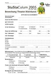 Bewerbungsformular für Theater und ... - StuStaCulum