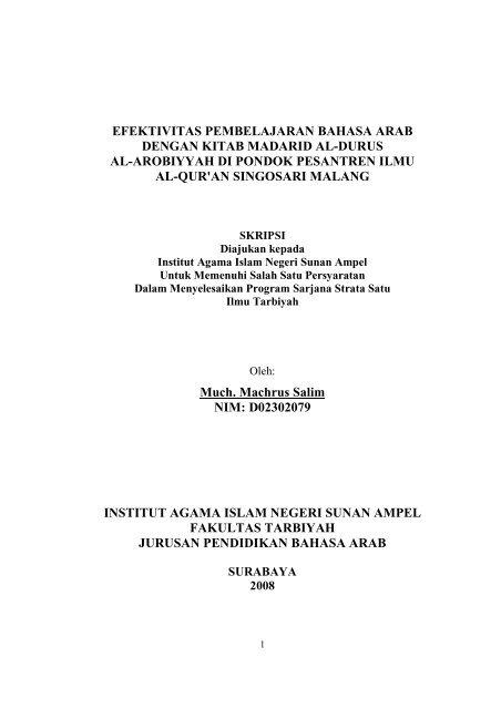 Efektivitas Pembelajaran Bahasa Arab Dengan Kitab Madarid Al Idb4