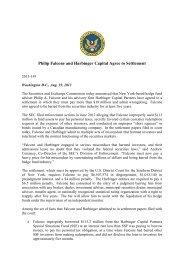 SEC vs Falcone et al. Press Release - Frank-CS.org
