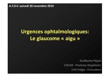 Le glaucome aigu - Association pour la Formation en Ophtalmologie ...