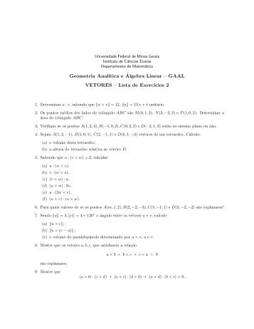 Lista 2 - Departamento de Matemática - Universidade Federal de ...