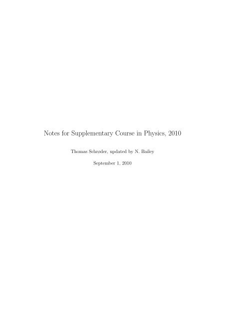 Notes for Supplementary Course in Physics, 2010 - dirac